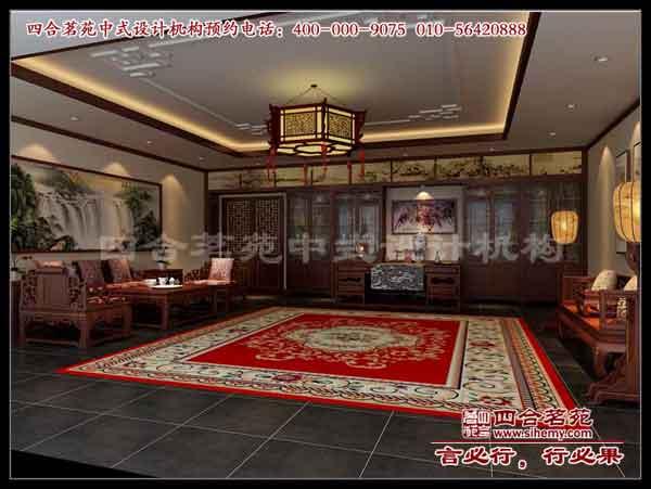 中式会所装修效果图 中式装修案例-大厅一角