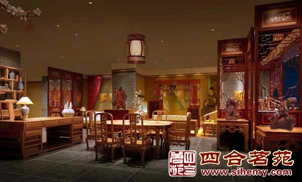 中式展厅效果图 瓷砖展厅装修效果图 红酒柜展厅装修效果图