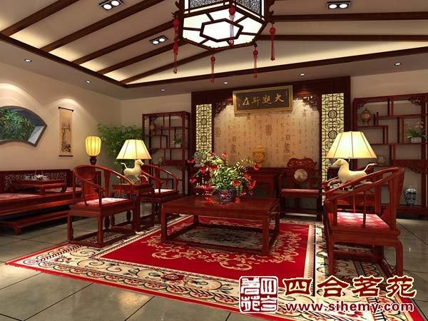 红木展厅效果图; 中式展厅装修; 北京深发红木展厅:【居然之家丽泽店
