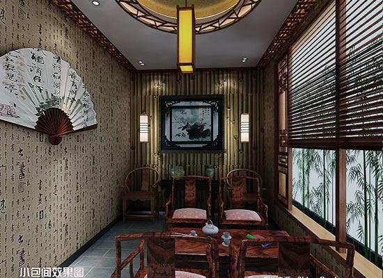 中式影��k�_中式茶楼设计,每间茶室洁净优雅,青花古瓷,古玩字画,风轻帘动,花影